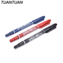 TUANTUAN 3 Colors Twin Tips Doubled Headed Hook Line For CD DVD Media Disc Quick-drying Writing Pens Permanent Paint Marker Pen(China)