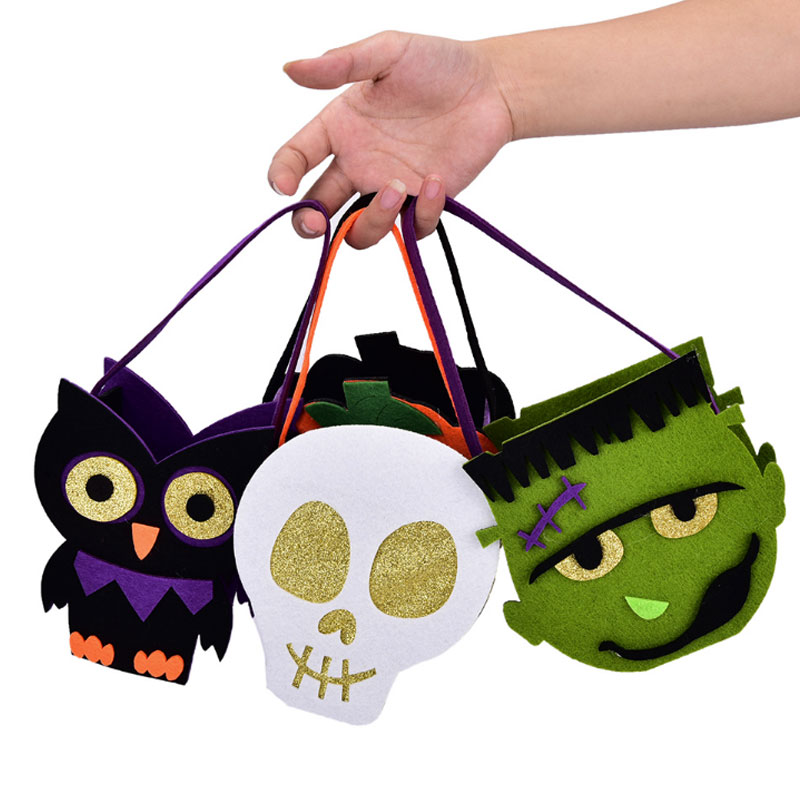 Halloween Kids Candy Bag Halloween Non-woven Bag Ghost Pumpkin Skull Felt Fabric Decorative Props Halloween Pumpkin Bag(China)