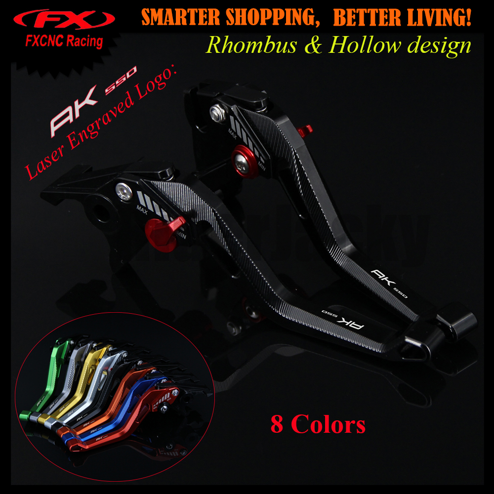 New 3D design (Rhombus Hollow) Black CNC Motorcycle Adjustable Brake Clutch Lever For KYMCO AK550 AK 550 2017 Laser Logo<br>