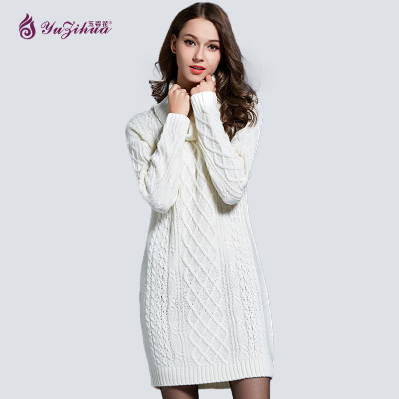 Yuzihua Autumn Soft Winter Woman Sweater Pullovers Long Sleeve Knitted Slim Jumper Scarf Collar Sweater Dress Pull Femme HiverÎäåæäà è àêñåññóàðû<br><br>