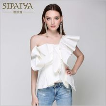 SIPAIYA Butterfly Sleeve Blouse Shirt Women Tops 2017 Summer Casual Striped Shirts Fashion Cool Off the Shoulder Blouse blusas(China)