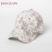 Brand New 2017 Women's Cotton Baseball Caps Flower Print Youth Girls Bone Hats Snapback Cap Female Hip Hop Cap Outdoor Sport Cap
