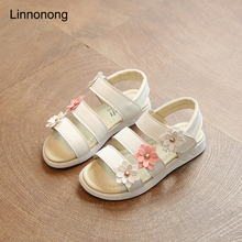 LK Summer New Style Kids Sandals Children Beach Sandals Fashion Toddler Baby Korean Leather Flower Flat Princess Shoes For Girls