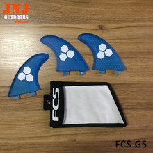 FCS brand new fiberglass and honeycomb blue FCS M G5 surfboard fin thruster FCS fin  future fin FCS G5 fins with bag