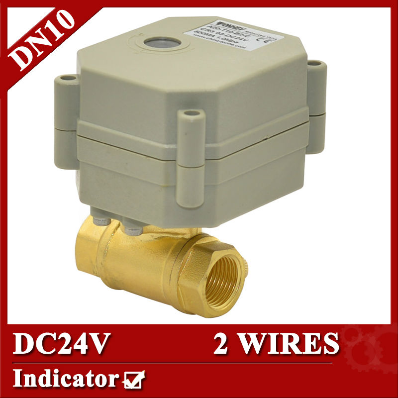 3/8  DC24V 2 port electric valve, DN10 motorized valve 2 wires, electric actuator valve with indicator<br><br>Aliexpress
