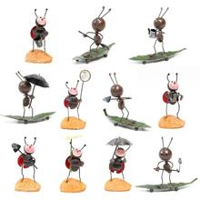 1Pc Cute Cartoon Ant Model Gift Iron Ornaments Home Decoration Tv Bench Wine Cabinet Handmade Crafts Artware Kids Gift Toys 2(China)