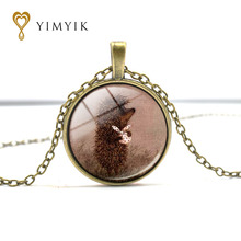 YimYik Hedgehog In The Fog Bronzer/Silver Pendant Necklace/Sweater long chain Statement Fashion Necklace for women gifts