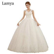 Lamya vestidos de novia V-neck Lace Sexy Cuestom Size Wedding Dress 2017 Summer Fashionable Style Brida Gown Cheap Wed Dresses(China)