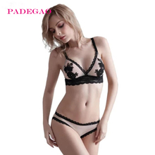 PADEGAO Summer women sexy lace  bra embroidery triangle cup without rims bra set 32B 34B 36B 38B cup