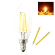 Dimmable E14 LED Lamp Filament Glass Housing Cob Corn Bulb 220V 4W 6W Light Retro Candle CTungstenhandelier Lighting Warm White(China)