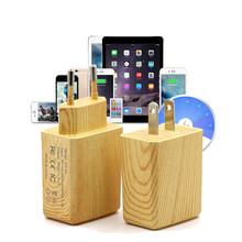 Wood Design 2A Outlet Supply With IC Chip Charging Plug Dual USB Ports Wall Charger Travel Adapter For mobile phone and Tablet(China)