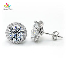 Peacock Star Halo Stud Earrings Solid 925 Sterling Silver 4 Carat Round Cut Bridal Bridesmaid Jewelry CFE8102(Hong Kong)