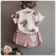 2016 new brand girls mickey sport suit cartoon clothing set ripped white shirt with shorts for kids and chidlren clothing