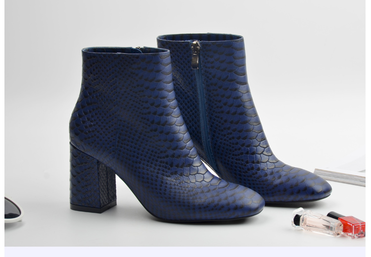 Donna-in 2017 new style ankle boots sexy snake leather women boots retro square toe thick high heel autumn boots 15325-19 (6)