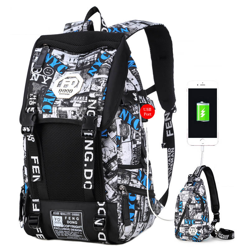 3pcs Set Waterproof Men Backpack College Laptop Travel Bag With External USB Charging Port Chest Bag Big Boy School Backpack<br>