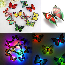 10PCS Lovely Creative Color Changing ABS Butterfly LED Night Lights Lamp Beautiful Home Decorative Wall Nightlights Random