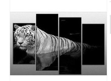 4pcs/set 2017 New Fashion Modern Canvas Oil Paintings Black & White Tiger Wall Artwork Home/Indoor Parlor Painting Picture