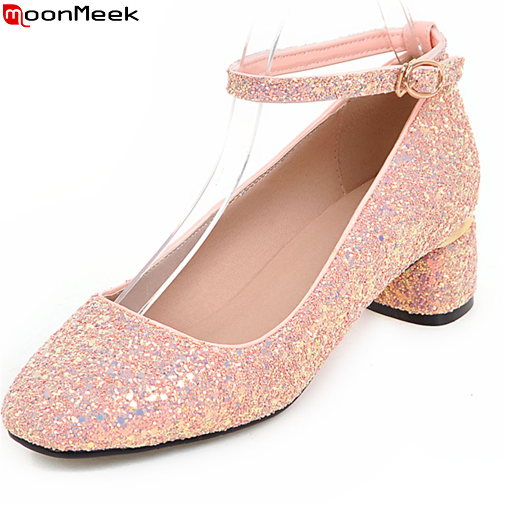 MoonMeek spring summer high heels square toe slip on shallow square heel sequined cloth pumps women shoes party shoes<br>