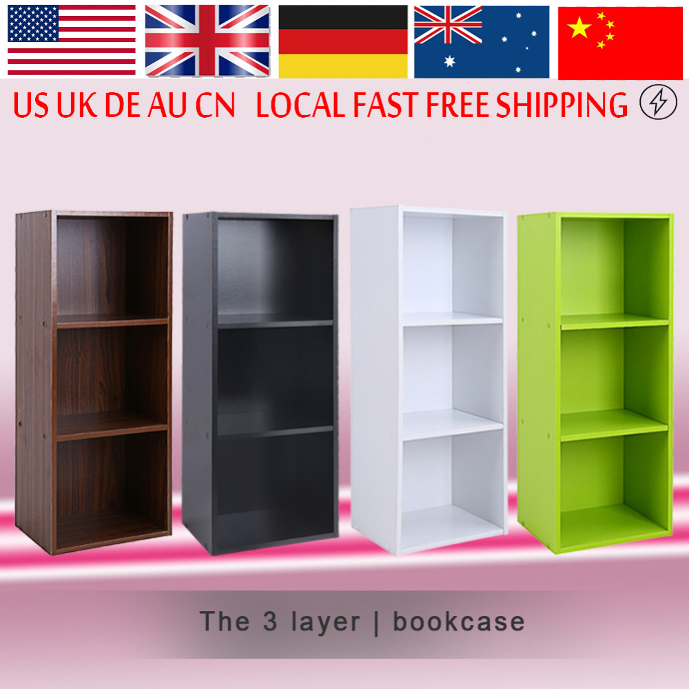 Bookcase Wood Display Shelves Storage Bookshelf 3 Level Tier Bookcase Stand Rack Unit Cube(China)