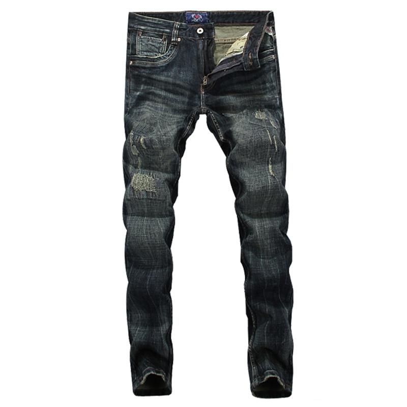 High Quality Italian Style Retro Design Men Jeans Slim Fit Vintage Distressed Ripped Jeans Mens Pants Skinny Biker Jeans MenÎäåæäà è àêñåññóàðû<br><br>