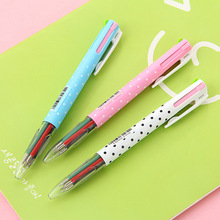 3 pcs/Lot Pattern day 4 color in 1 ballpoint pen Multi refill Click ball pens Stationery Office accessories school supplies 6525