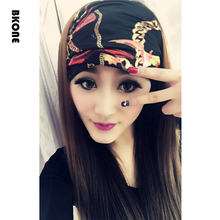 Punk Black Satin Headbands  Wide Headwear Turban Floral Bandana Casual Elastic Headwrap Cross Kerchief Hairband Bows