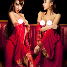 Buy Erotic Babydoll Sexy Lingerie Women Chinese Red Clothes Classic Embroidery Bride Role Play Costumes Sexuality Robe T1463