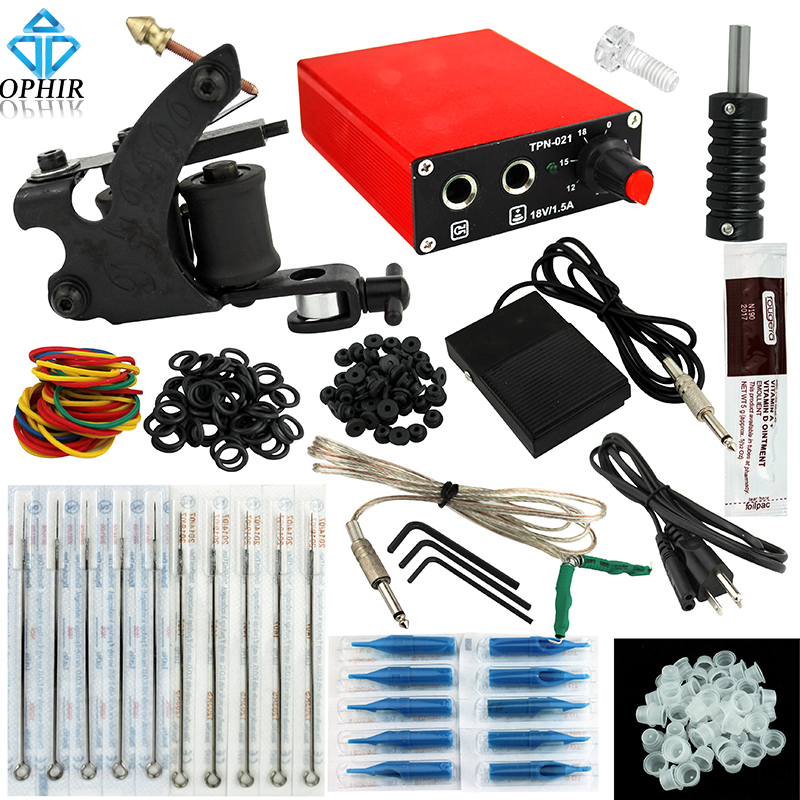 OPHIR Beginning One Machine Tattoo Kit with Tattoo Power Supply Nozzle Needle for Beginners_TA114<br>