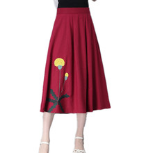2017 New vintage style long skirt fashion Embroidery floral high waist Elastic women skirt solid color cotton linen midi skirt