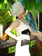 Elegant sinamay fascinator hat with feathers and veiling,For races wedding Kentucky Derby Ascot,black,ivory color.FREE SHIPPING