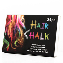 High Quality 24 Colors Hair color Chalk Temporary Color Hair Chalk DIY styling tools(China)