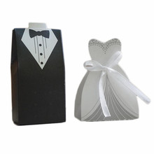 25 Pairs European Suit Candy Box Cute Black White Suit Bride & Bridegroom Dress Shaped Wedding Candy Boxes Marriage Decoration(China)