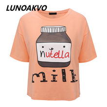 2017 Summer New Brand Nutella Milk Printed Character Women T Shirt Short Sleeve O-neck New Design Girl T Shirt Free Shipping