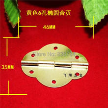 50pcs 46*35MM Steel with Brass Plated Small Gift Box Packing Box Jewelry Box Woonden Wine Box Door Hinge(China)