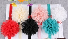 10pcs/lot 12 color alternative big chiffon hair flower 10cm headband flowers no clips flat back free shipping H22