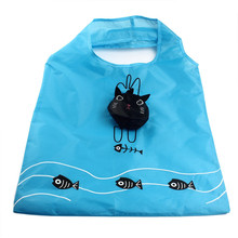 2017 Fashion Women large shopping bags reusable Cartoon Cat Portable Folding Shopping Bags Thicker Oversized Hand Bags D40JL21