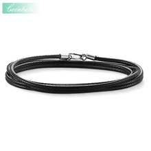 Cord Black Faux Leather Trendy Gift For Women & Men, Thomas Style Soul Jewelry TS 925 Sterling Silver Fashion Jewelry Wholesale(China)