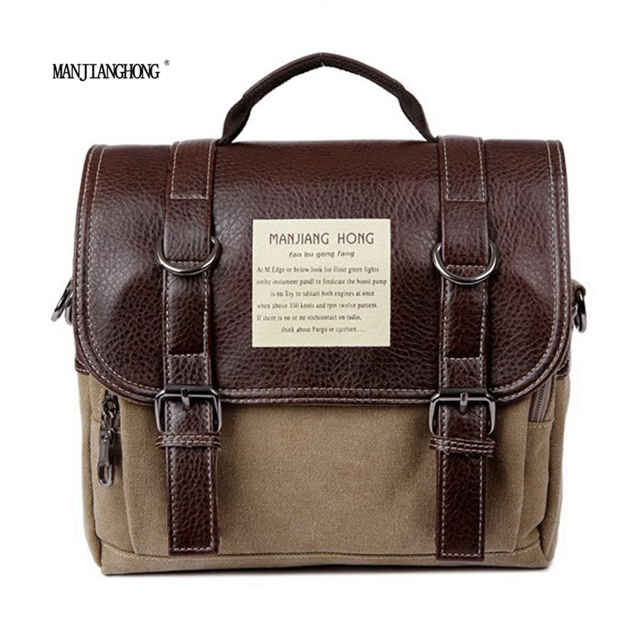 2016 new canvas leather bag handbag men women oblique satchel bags men messenger bag shoulder bagmore sturdy and durable<br>