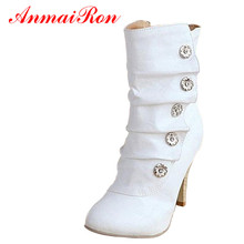 ANMAIRON New Fashion Style Sexy Style PU Women Boots Ladies' Lovely Fashion Cotton Fabric Snow Shoes Women Motorcycle Boots