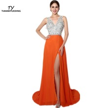 TIANMIYUEDING 2017 Evening Dress Long V-Neck Backless Side Leg Slit Orange Chiffon Luxury Special Occasion Prom Gowns Cheap