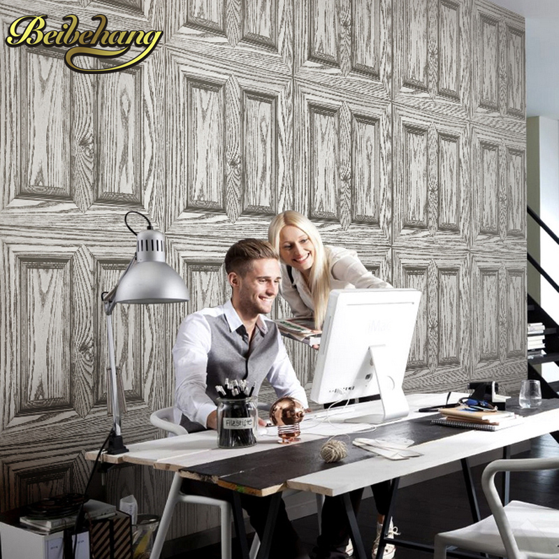 beibehang wood doors wall paper Velvet wallpaper roll tv background mural wall paper papel de parede para 3D contact paper<br>