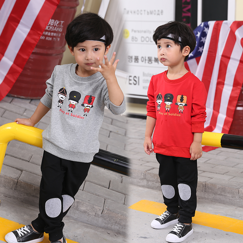 Boy clothes O-Neck long sleeve T-shirt trousers suit boys set autumn Casual loose style children clothing kids for 2-8 years <br>
