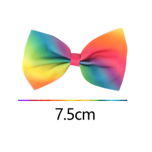 2PCS Children Hair Clips Bowknot Hairpins Barrettes Floral Colorful Grosgrain Ribbon Rainbow Hair Accessories Random Color!!
