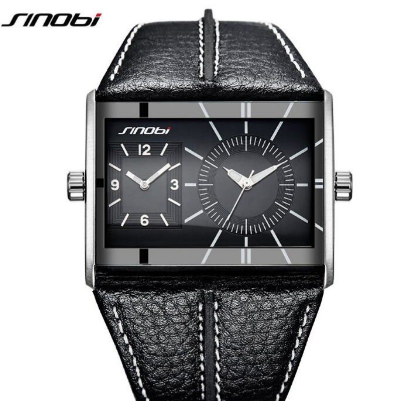 SINOBI Top Brand Multiple Time Zone Watch Men Watch Fashion Rectangle Watches Men Waterproof Dual Time Mens Watch Clock saat<br>