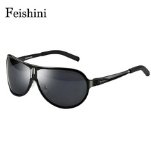 FEISHINI 100% Aluminum Magnesium Alloys Drivers Car UV Polarized Sunglasses Men High Definition HD Metal Prevent Glare Glasses