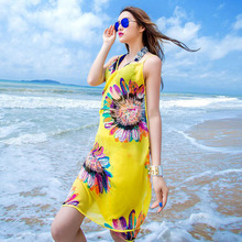 2017 Beach Chiffon Cover Ups Printed Flowers Bandage Bikini Smock Swimwear Women Robe De Plage Beach Tunic Bathing Suit