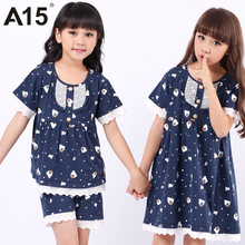 A15 Brand Sleeping Suit Toddler Girls Clothes Kids Summer Nightwear Cartoon Lace Sleepwear Set 3 6 8 10 12 14 Year Teens Pajamas