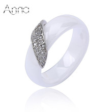 A&N New Fashion White Black Ceramic Rings for Women Brand Wedding Stainless Steel Rings Inlay Cubic Zircon Stone Ceramic Jewelry