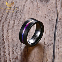 [YWM]8mm Black Tungsten steel Carbide Rainbow Anodized Groove Center Ring for Men Wedding Engagement Band Male Fashion Jewelry(China)