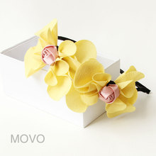 Princess Lolita hairband Yellow flower pink ribbon bow hair bands adult child hair accessory lolita accessories headband FG-19